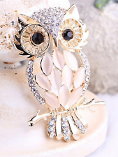 Gold plated Diamante opal Owl Brooch Costume jewellery Badge Dress Gift present