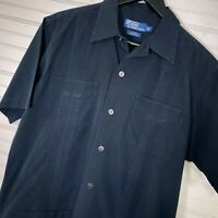 "Polo Ralph Lauren ""Java"" Guayabera Vintage Hawaiian Button Shirt Men's S Black"