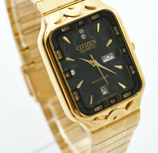 Citizen Day Date Gold Steel Rectangle Black Crystal Dial Analog Men Watch 062M