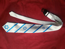 Neck tie Israeli flag blue&white 3 Star of David Judaic Jewish Hebrew