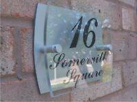 MODERN HOUSE SIGN DOOR NUMBER PLAQUE ACRYLIC ALUMINIUM COMPOSITE