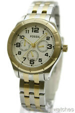 New Fossil Multi-Function Steel Two Tone Date Mid Size Watch 40mm BQ1410 $135