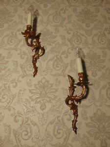 antik 1 Paar Wandleuchter Lampe Bronze  Barock Frank. ca.1900