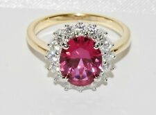 9ct Yellow Gold & Silver Ruby Ladies Large Cluster Ring size R