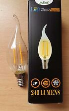 10 x 2w LED Clear Candle Filament Bent Flame Tip Wick Light Bulbs SES E14 25w