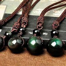 Cristal pour transfert haut perles noir arc-en-boule pendentif obsidienne oeil