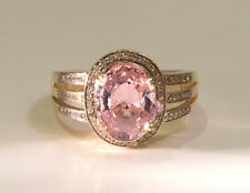 14K YG Pretty Peachy Pink Tourmaline and Diamond Ring - Size 7.5, 4.95 grams