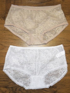 Ex M&S Low Rise Stretch Floral Lace Shorts / Briefs / Knickers - White or Nude
