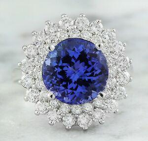 4.80 Carat Natural Tanzanite 14K Solid White Gold Luxury Diamond Ring