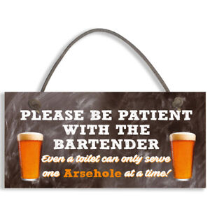 Bartender FUNNY Pub Landlord Alcohol Gift Hanging Plaque Man Cave Bar Sign #1114