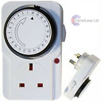 24 Hour Timer UK Mains Plug In Switch Time Clock Security Hydroponics 13amps