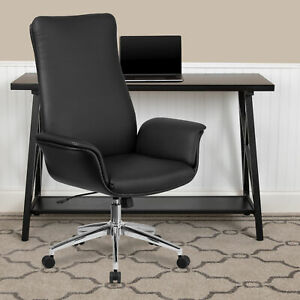 High Back Black LeatherSoft Executive Swivel Office Chair with Flared Arms