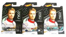 Hot Wheels Nico Rosberg Set 3 Modellautos 2019 F1 Formula 1:64