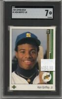 Ken Griffey Jr. 1989 Upper Deck Rookie #1 Mariners SGC 7