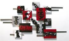 Ravishing Modern Red n Grey Geometric Abstract Art Wall Sculpture 38x20 by Art69
