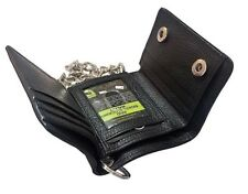 Men's RFID Signal Blocking Motorcycle Biker Black Trifold Wallet With Chain