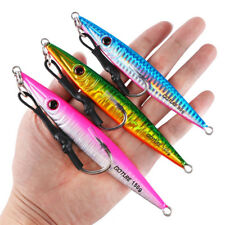 3pcs Vertical Jig Lures Butterfly Saltwater Metal Spoon Jigging Tuna Kingfish