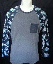 MENS ON THE BYAS LONG SLEEVE FLORAL POCKET T-SHIRT SIZE S