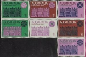 1971 Australian Last Hinged Christmas Stamps Block 7x 7c - Colour variety issues
