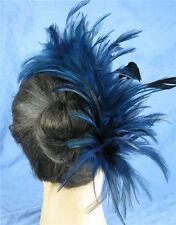 navy blue black feather fascinator comb hair clip headpiece wedding party piece