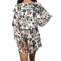 Parker Raquel Blouson 100% Silk Women's Floral Long Sleeve Dress Size XS $398