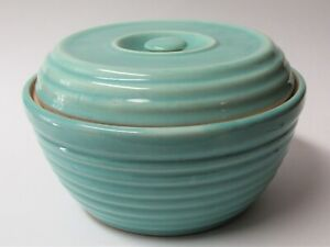 Vintage Green Beehive Ringed Covered Casserole Recessed Button Handle