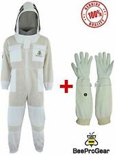 3x Layers Ultra Ventilated Unisex White Fabric Mesh Bee Suit with Free Gloves