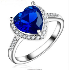 heart style Blue Zircons White gold plated rings  (size:8)