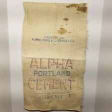 Vtg Alpha Portland Cement Co Concrete Cloth Bag Sack Ironton Oh Martins Creek Pa
