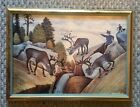 Vintage A. Aleriesto Signed And Framed Art Print 1959 No Glass 17.5 X 12.5