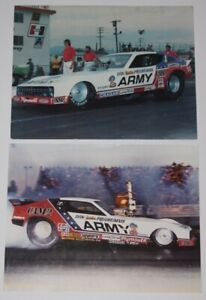 Vtg 1970's Don Prudhomme Army Plymouth Arrow FC NHRA Postcard Handout Lot Of 2