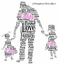 Personalised Daddy Dad and Daughters  A4 Word Art Print Christmas Gift