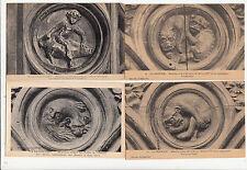 Lot 4 cartes postales anciennes LA CHAISE-DIEU médaillon sculpté
