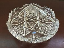 "Antique ABP Lead Crystal Star of David Diamond Cut w/ Cross Hatching Pattern 5"""