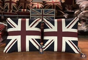 Union Jack / Uk Tapestry Pair Of Cushions  By Woven Magic (Vintage White 18x18)