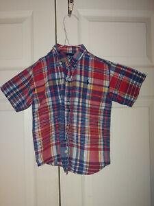 Toddler Boy Ralph Lauren Polo Short Sleeve Blue Plaid Button Down Shirt Size 3T