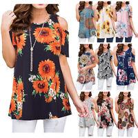 Women Ladies Cold Shoulder Loose T-shirt Summer Blouse Floral Tee Baggy Top Boho