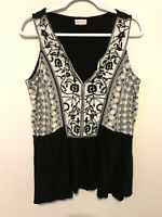 Anthropologie Meadow Rue Womens Medium Boho Floral Embroidered Tank Top Blouse