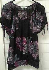 Target Hot Options Size 8 Black Paisley Casual Sheer Blouse Top EUC Hippy