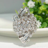 Fashion Women Luxury Flower Zircon Rings Silver Color Simulated Diamond Jewelry