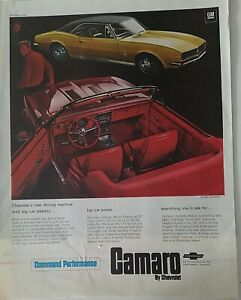 1967 red convertible SS 350 convertible and gold hardtop Chevrolet Camaro car ad