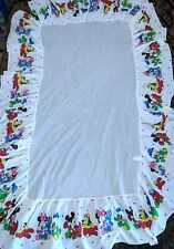 Vtg 80s Disney Crib Baby Bedskirt Bedding Mickey Minie Mouse Pluto Donald Duck