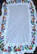 Vtg 80s Disney Crib Baby Bedskirt Bedding Mickey Minie Mouse Pluto Donald Duck