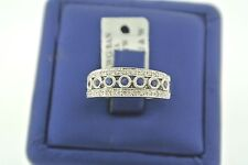 SOLID 14K WHITE GOLD DIAMOND & BLUE SAPPHIRE LADIES RING SIZE 7.25