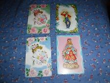 a22. 4 Vintage Swap Playing Cards  Blank Backs  Ladies with Flowers   ? Matador