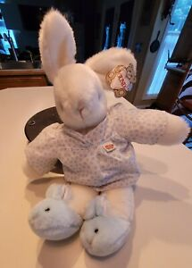 Vintage Rare 1985 Gund Bunny Two Shoes White Blue Slippers Star Pajamas, Tags on