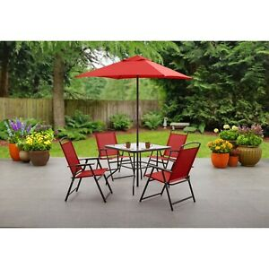 Albany Outdoor Dining Table with 4 Chairs and Umbrella - Red FREE SHIPPING!