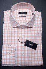 NWT Hugo Boss Men's Union Regular Fit Orange Plaids Cotton Dress Shirt 41 16