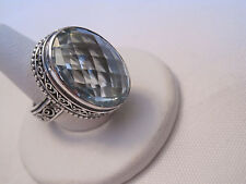 Stunning New Sterling Silver and Swiss Blue Topaz Cocktail Ring, Size 9
