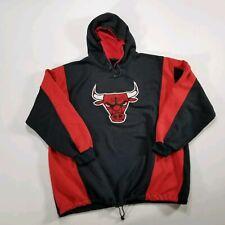 VTG 90s Chicago Bulls Hoodie Sweatshirt MEDIUM Black Red Felt logo APEX ONE